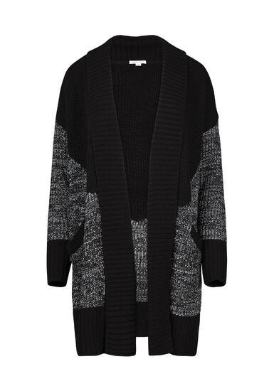 Women's Colour Block Cardigan, BLK/WHT, hi-res