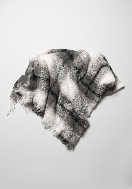 Women's Plaid Scarf, GREY, hi-res