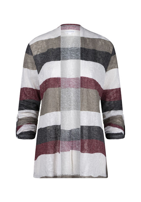 Women's Stripe Roll Sleeve Cardigan