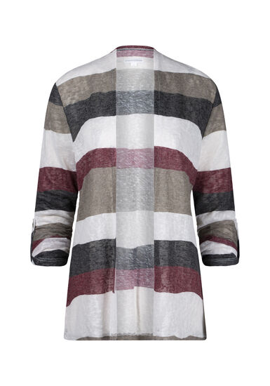 Women's Stripe Roll Sleeve Cardigan, BURGUNDY, hi-res