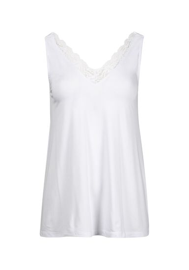 Women's Lace Trim Tank, WHITE, hi-res