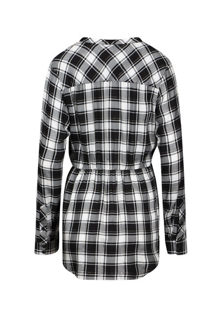 Women's Shimmer Plaid Tunic Shirt, BLACK, hi-res