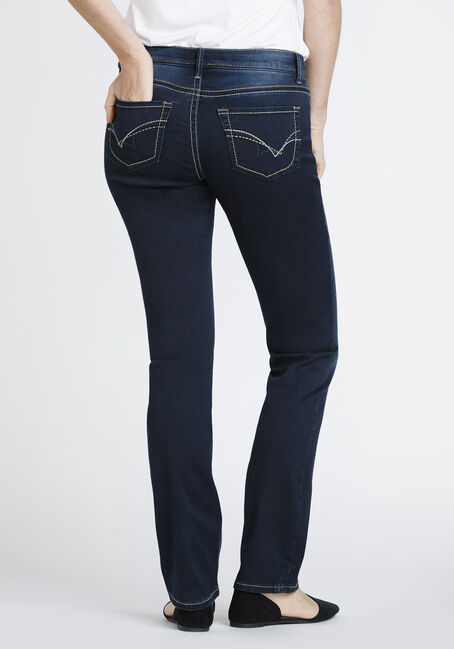 Women's Dark Wash High Rise Straight Jeans, DARK WASH, hi-res