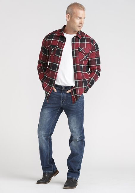 Men's Plaid Flannel Shirt, RED, hi-res