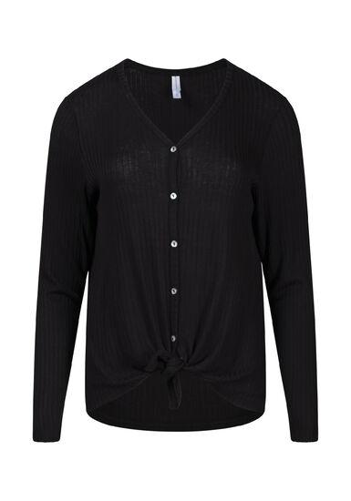 Women's Rib Knit Tie Front Top, BLACK, hi-res