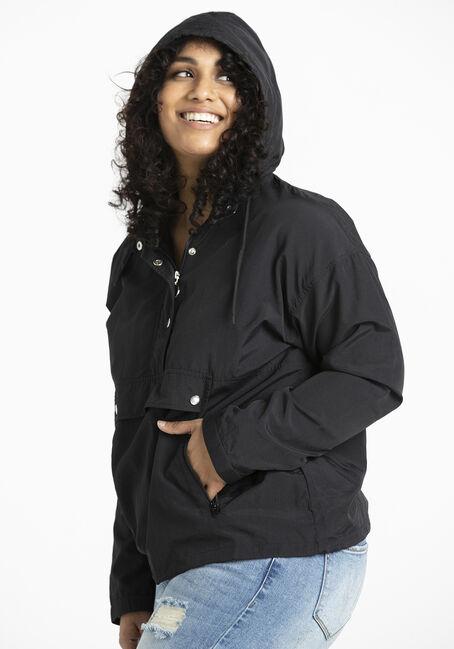 Women's Hooded Windbreaker Pullover, BLACK, hi-res