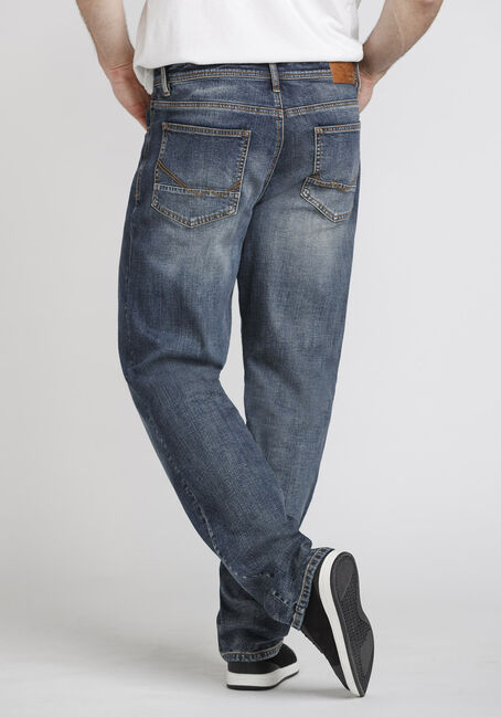Men's Medium Wash Relaxed Straight Jeans, MEDIUM WASH, hi-res