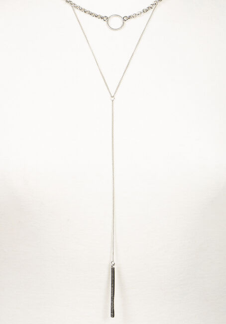 Women's Layered Necklace, SILVER, hi-res