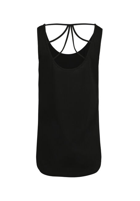 Ladies' Moon Rose Cage Back Tank, BLACK, hi-res