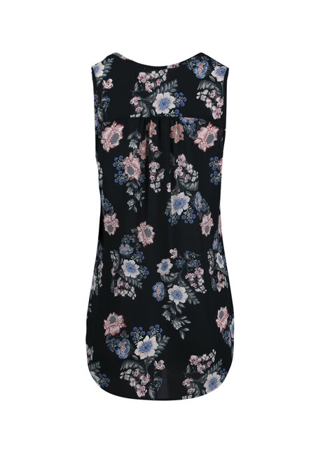 Women's Floral Pleat Front Tank, NAVY, hi-res
