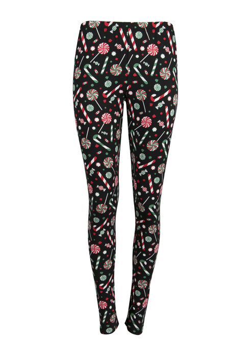 Ladies' Candy Cane Holiday Legging, BLACK, hi-res