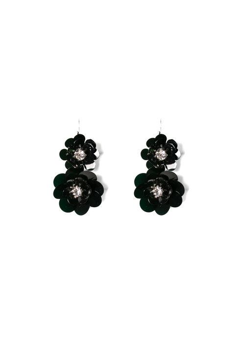 Women's Fancy Flower Earrings, BLACK, hi-res