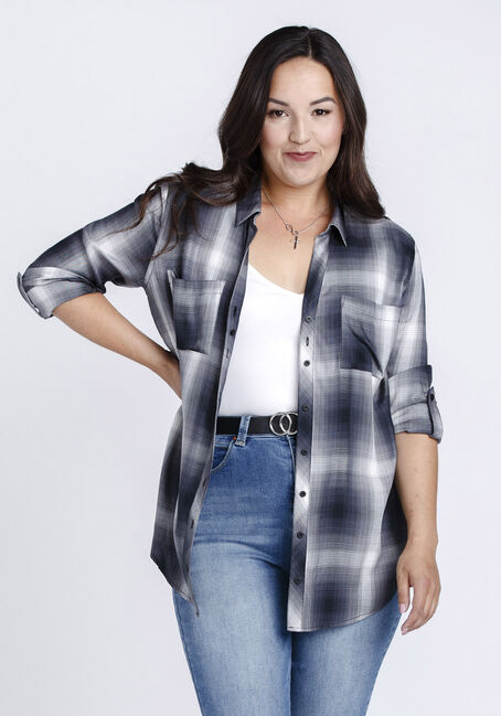 Women's Boyfriend Plaid Shirt, BLACK, hi-res