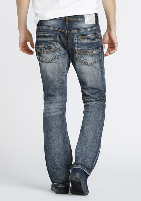 Men's Dark Vintage Wash Straight Jeans, DARK WASH, hi-res