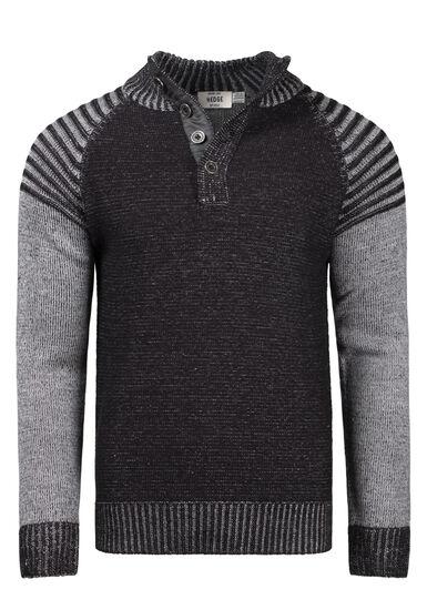 Men's Henley Sweater, BLACK, hi-res