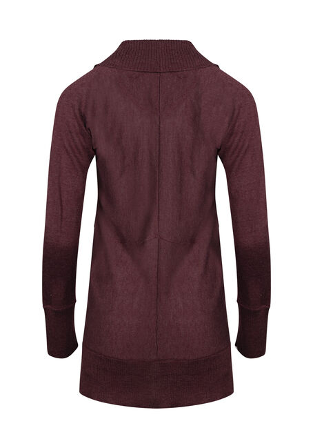 Womens' Marled Open Cardigan, BURGUNDY MARL, hi-res