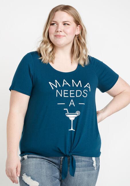 Women's Mama Tie Front Tee