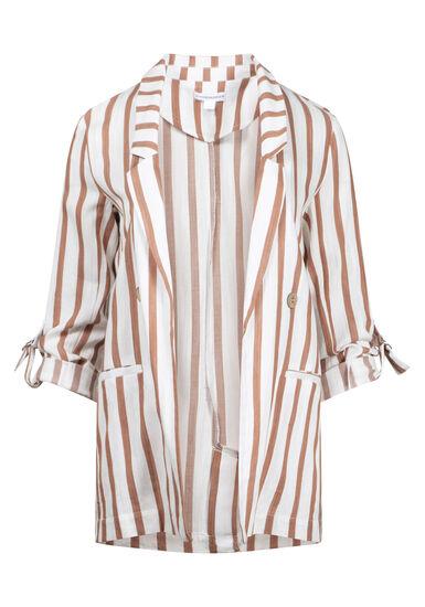 Women's Stripe Blazer, TAN/IVORY, hi-res