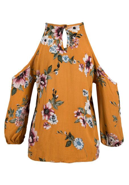 Ladies' Floral Cold Shoulder Top, MUSTARD, hi-res
