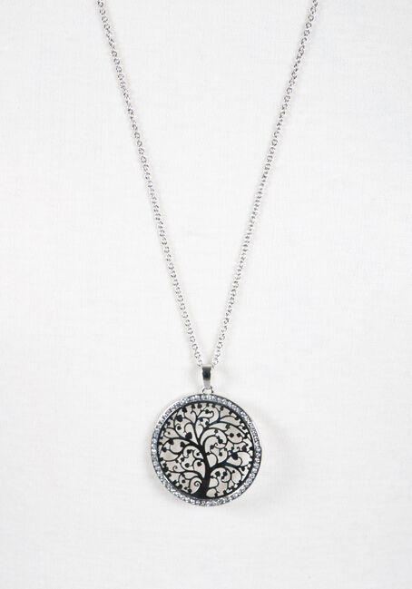 Ladies' Circle Tree Necklace, SHINY SILVER, hi-res