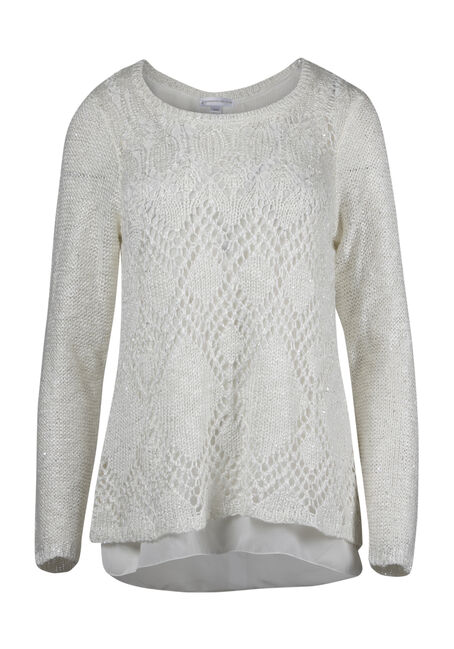 Ladies' Chiffon Back Shimmer Sweater