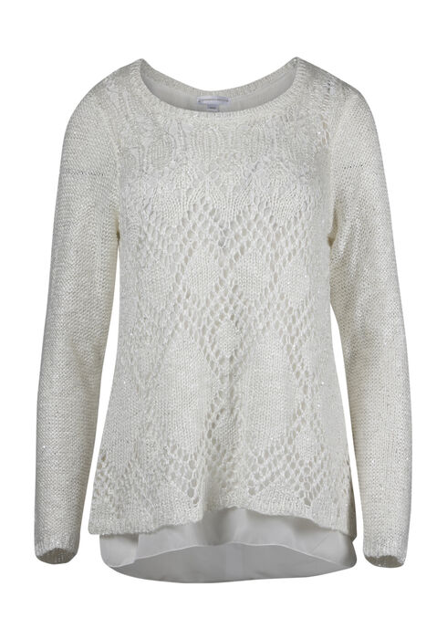 Ladies' Chiffon Back Shimmer Sweater, IVORY, hi-res