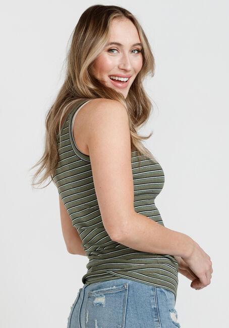 Women's Striped Rib Knit Tank Top, MOSS, hi-res