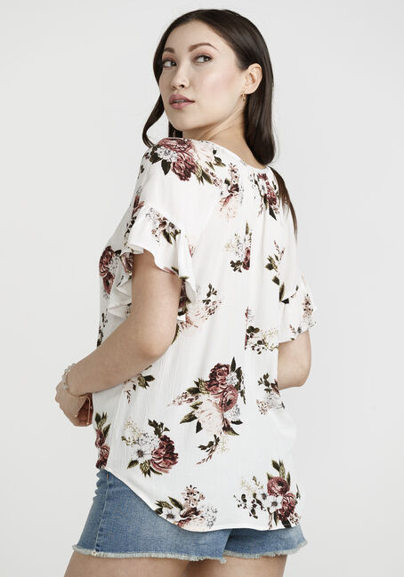 Women's Flutter Sleeve top, IVORY, hi-res