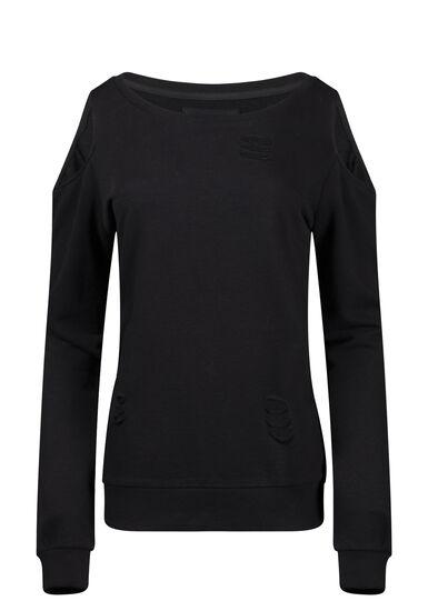 Women's Distressed Cold Shoulder Crew Neck Fleece, BLACK, hi-res
