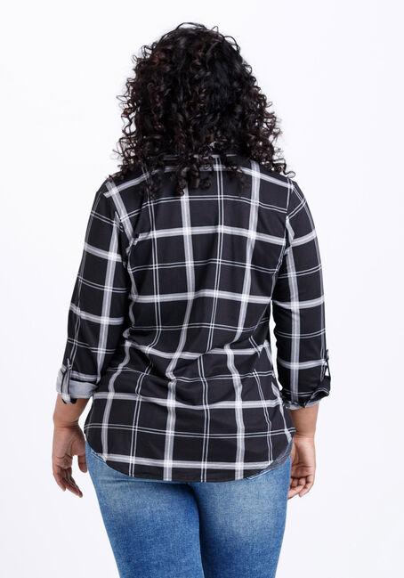 Women's Knit Plaid Shirt, BLK/WHT, hi-res