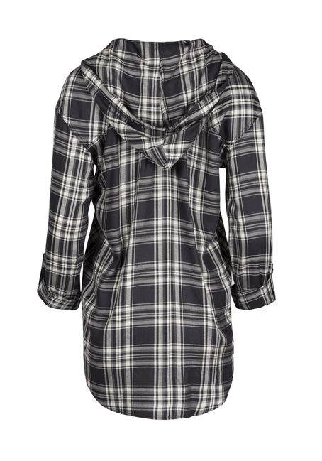 Ladies' Hooded Plaid Shirt, BLK/WHT, hi-res