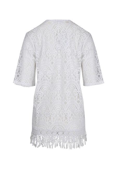 Ladies' Lace Kimono, WHITE, hi-res