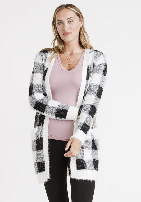 Women's Plaid Feather Yarn Cardigan