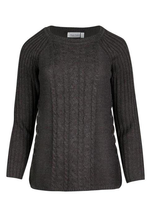 Ladies' Lace Up  Sweater, ASH GREY MELANGE, hi-res