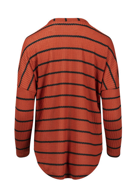 Women's Striped Button Front Waffle Top, RUST/BLACK, hi-res