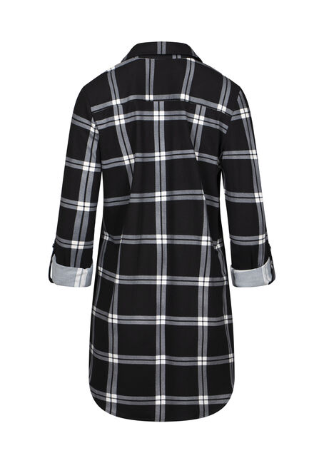 Women's Knit Plaid  Tunic Shirt, BLACK, hi-res