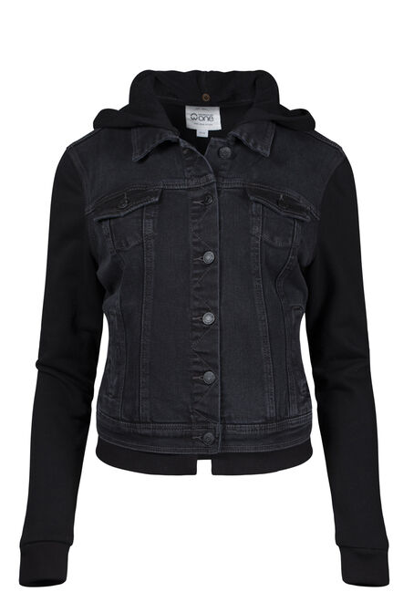 Women's Knit Sleeve Black Jean Jacket