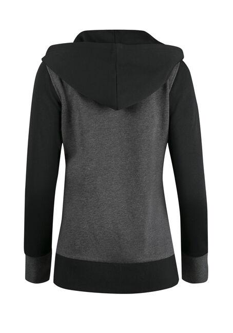 Ladies' Colour Block Hoodie, CHARCOAL/BLACK, hi-res