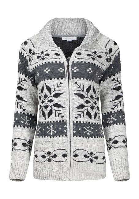 Women's Snowflake Zip Front Cardigan