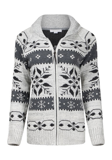 Women's Snowflake Zip Front Cardigan, HEATHER GREY, hi-res