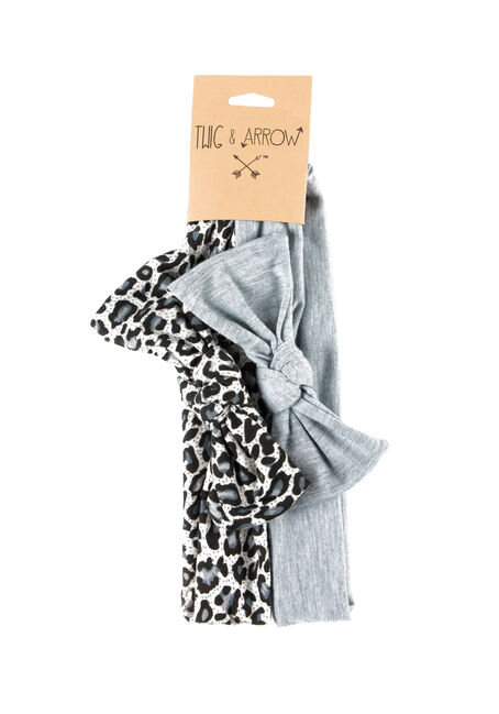 Women's Grey Leopard Print Headband Set
