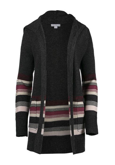 Women's Hooded Stripe Cardigan, CHARCOAL, hi-res