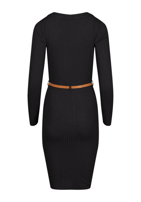 Women's Ribbed Midi Bodycon Dress, BLACK, hi-res