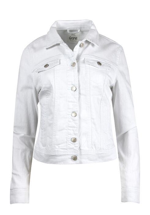 Women's White Jean Jacket, WHITE, hi-res
