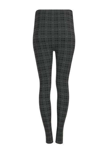 Ladies' Plaid Plush Legging, BLACK/ GREY, hi-res