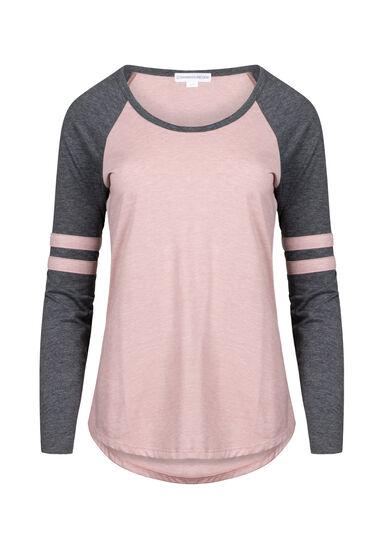 Women's Football Stripe Tee, DUSTY PINK/BLK, hi-res