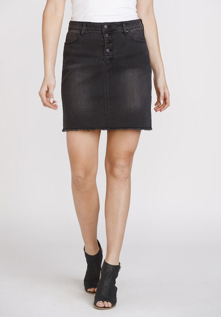 Women's Exposed Button Frayed Hem Skirt