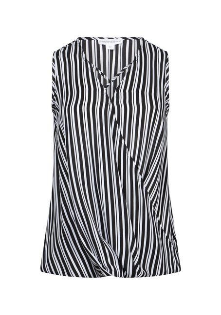 Women's Stripe Wrap Tank, BLK/WHT, hi-res