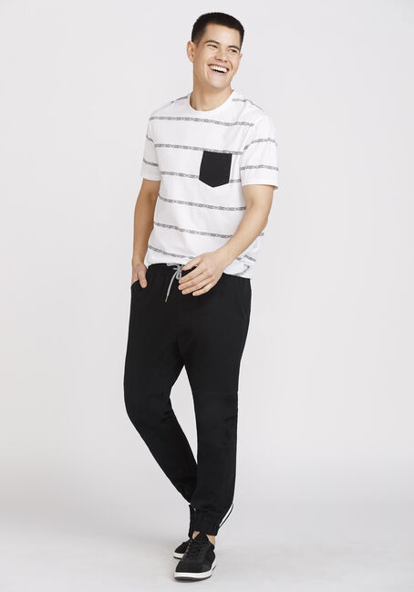 Men's Everyday Pattern Striped Pocket Tee, WHITE, hi-res
