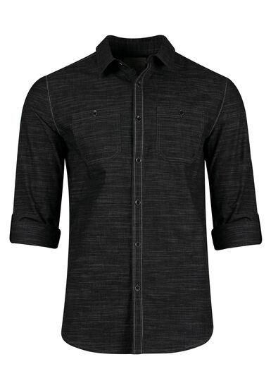 Men's Textured Shirt, BLACK, hi-res